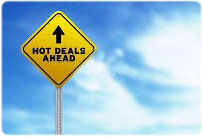 Traffic sign showing hot deals ahead