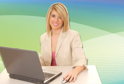 Smiling woman taking ADI course online